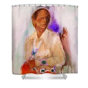 Turquoise And Silver Shower Curtain