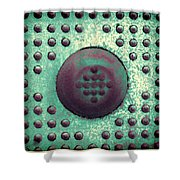 Green And Violet Dots In Cube Shower Curtain