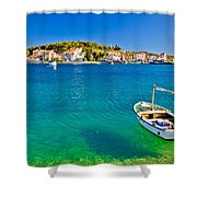 Turquoise Beach And Boat In Rogoznica Shower Curtain