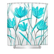 Turquoise Bloom Shower Curtain