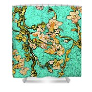 Turquoise Blossom Shower Curtain