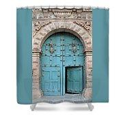 Turquoise Cusco Church Door Shower Curtain