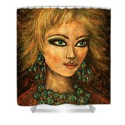 Turquoise Eyes Shower Curtain