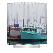 Turquoise Fishing Boat Shower Curtain