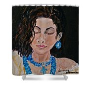 Turquoise Lady 1 Shower Curtain