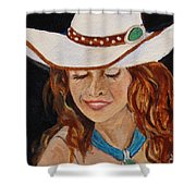 Turquoise Lady 2 Shower Curtain