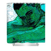 Turquoise Man Shower Curtain