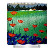 Turquoise Meadow Shower Curtain