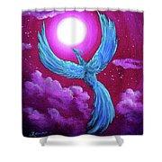 Turquoise Moon Phoenix Shower Curtain