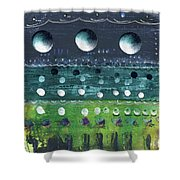 Turquoise Moons Shower Curtain