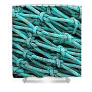 Turquoise Nets Shower Curtain