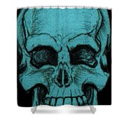 Turquoise Skull Shower Curtain