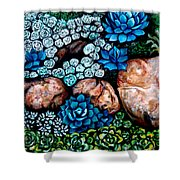 Turquoise Stone Shower Curtain