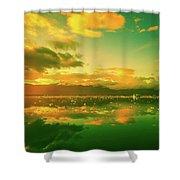 Turquoise Sunrise Shower Curtain