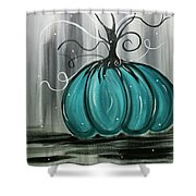 Turquoise Teal Surreal Pumpkin Shower Curtain