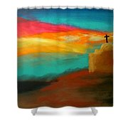 Turquoise Trail Sunset Shower Curtain