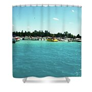 Turquoise Waters At The Torch Lake Sandbar Shower Curtain
