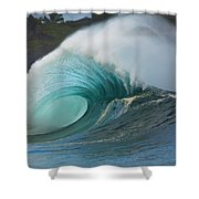 Turquoise Wave Peak Shower Curtain