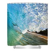 Turquoise Wave Tube Shower Curtain