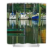 Turquoise Workboat In The Colorful Harbor Shower Curtain