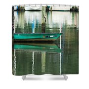 Turquoise Workboat On The Calm Harbor Shower Curtain