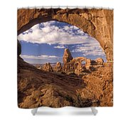 Turret Arch And North Window Shower Curtain