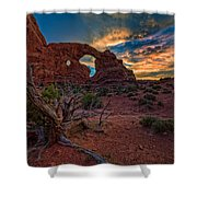 Turret Arch At Sunset Shower Curtain