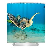 Turtle And Diver Shower Curtain