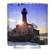 Turtle Rock Light House At Sunrise Shower Curtain