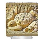 Turtle Sand Castle Sculpture On The Beach 999 Shower Curtain