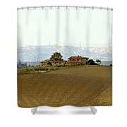 Tuscan Farm House With The City Of Siena On The Background Shower Curtain