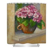 Tuscan Flower Pot Oil Painting Shower Curtain