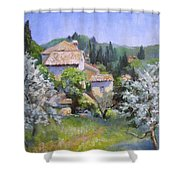 Tuscan  Hilltop Village Shower Curtain