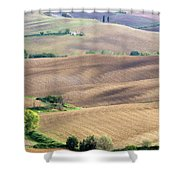 Tuscan Landscape With Plowed Fields Shower Curtain