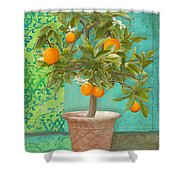 Tuscan Orange Topiary - Damask Pattern 2 Shower Curtain