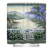 Tuscan Pond And Wisteria Shower Curtain