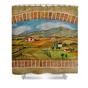 Tuscan Scene Brick Window Shower Curtain
