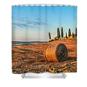 Tuscany Landscape With Farm House At Sunset, Val D'orcia, Italy Shower Curtain