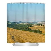 Tuscany Landscape With Rolling Hills At Sunset, Val D'orcia, Ita Shower Curtain