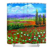 Tuscany Poppies Field Shower Curtain