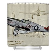 Tuskegee P-51b By Request - Profile Art Shower Curtain
