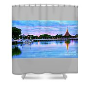 Twilight City Lake View Shower Curtain