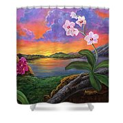 Twilight Orchids Shower Curtain