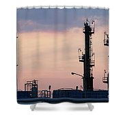 Twilight Over Petrochemical Plant Shower Curtain