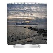 Twilight Steaming Into Charleston Harbor Shower Curtain