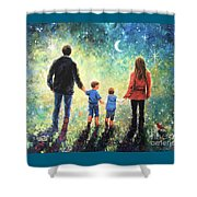 Twilight Walk Family Two Sons Shower Curtain