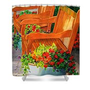 Twin Benches Shower Curtain