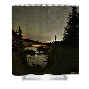 Twin Lakes Night Panorama Shower Curtain