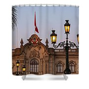 Twin Lamp Posts Shower Curtain