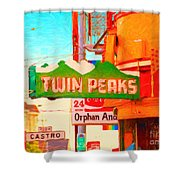 Twin Peaks Gay Bar In San Francisco . Painterly Style Shower Curtain